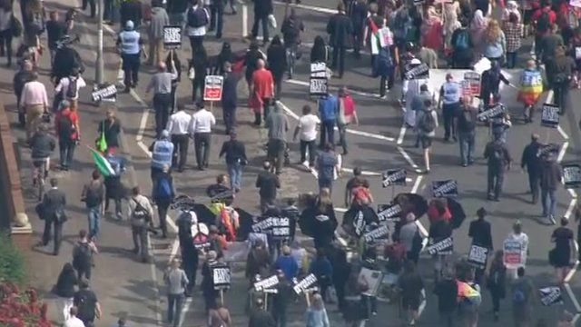 aerial shot of protest