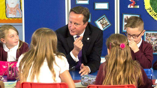 David Cameron at a Primary school