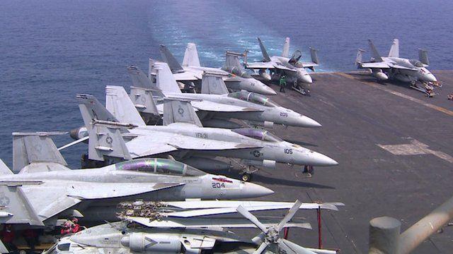 Fighter jets aboard the USS HW Bush