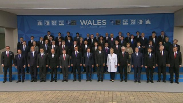 World leaders gather for a photo at the end of the Nato summit in Newport