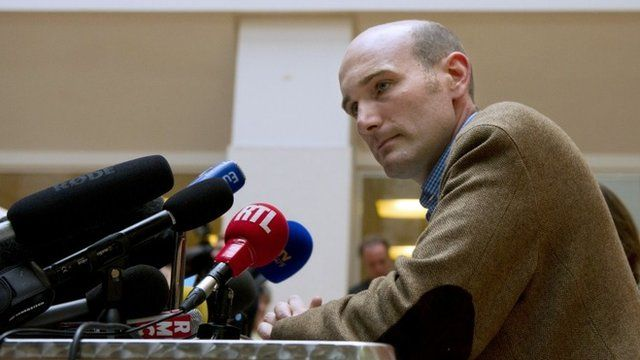 French journalist and former hostage in Syria Nicolas Henin gives a press conference at Le Point newspaper headquarters on September 6, 2014 in Paris