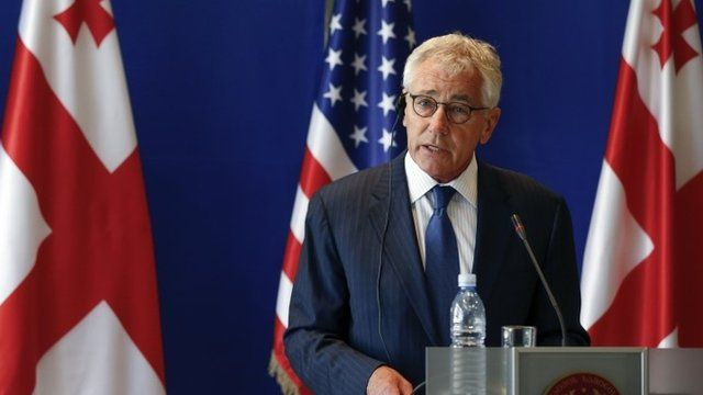 Chuck Hagel speaking at a news conference