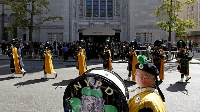 The Pipes Drums of the Emerald Society of the NYPD perform at the conclusion of the funeral of US comedienne Joan Rivers at Temple Emanu-El in New York, New York, USA, 07 September 2014