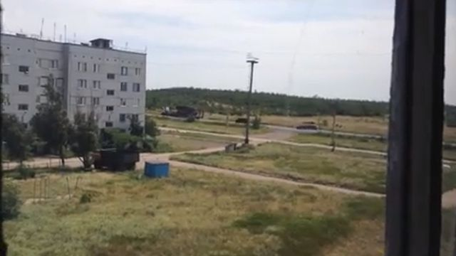 Image of what a witness says is a BUK missile launcher in rebel-held territory in Ukraine