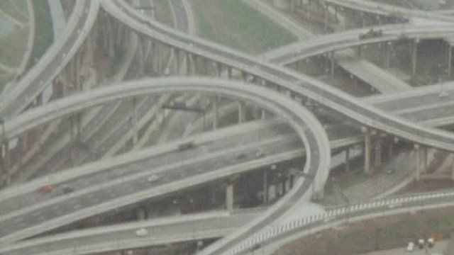 An aerial view of the complex series of motorways that make up Spaghetti Junction