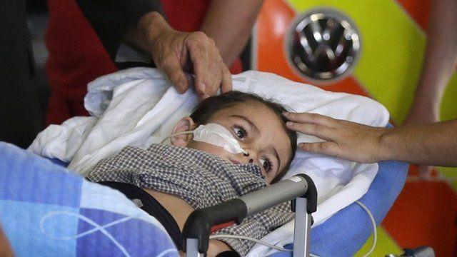 Ashya King, 5, arrives at the Motol hospital in Prague