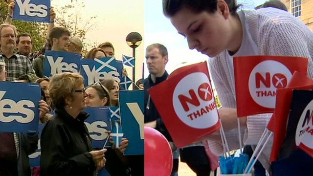 Split image showing 'yes' and 'no' campaigners