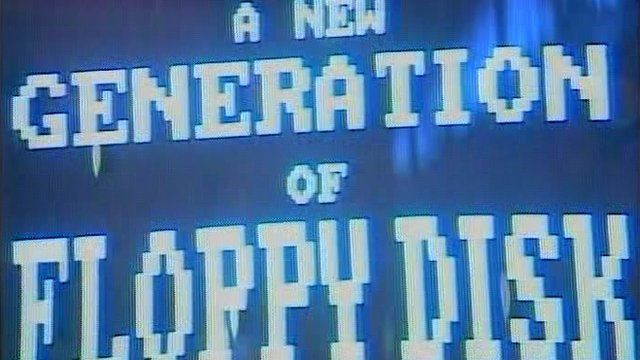 A screen tempts attendees with the promise of 'a new generation of floppy disks'.