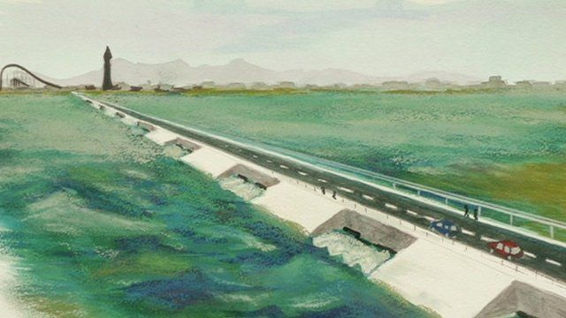 Artist's impression of a tidal gateway at Ribble