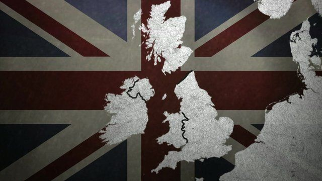 Great Britain with a detached Scotland over a Union Jack