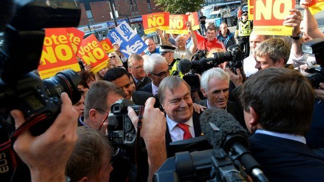 Crowd surrounding John Prescott