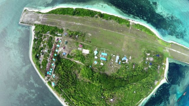 Aerial view of Pagasa, in the Spratly Islands, South China Sea
