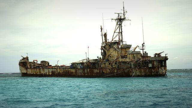 Rusting Philippine ship, Sierra Madre