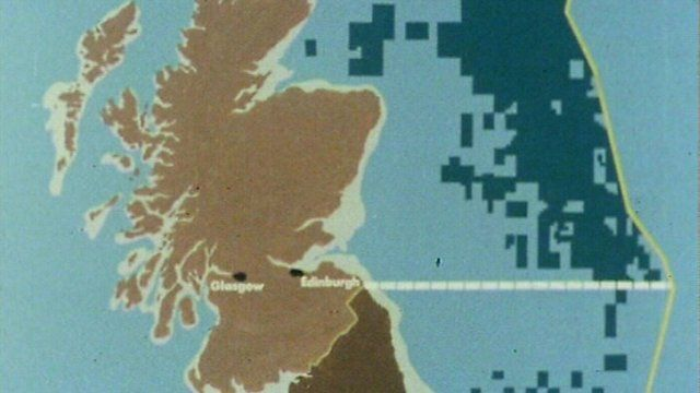 Graphic depicting oil discovered in the North Sea around Britain