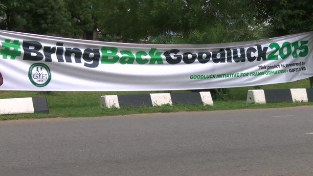 The controversial banner with the hashtag #BringBackGoodluck2015