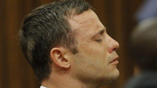 Oscar Pistorius cries in the dock in Pretoria