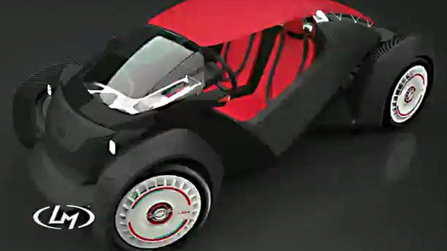 A graphic of a 3D printed car