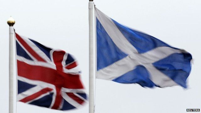 The Union flag and Saltire