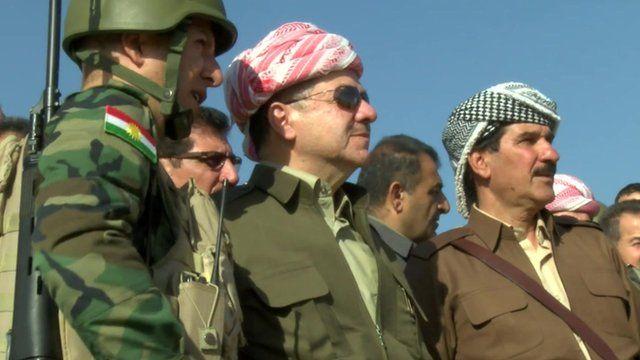 Masoud Barzani with Peshmerga fighters