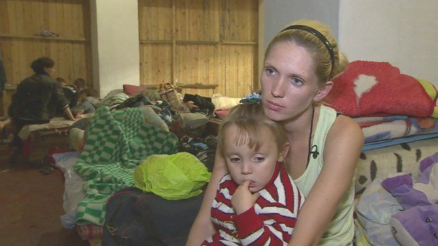 Family in a Donetsk bomb shelter