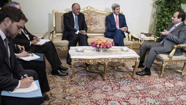 US Secretary of State John Kerry with Egyptian Foreign Minister Shoukry and Egyptian President Sisi