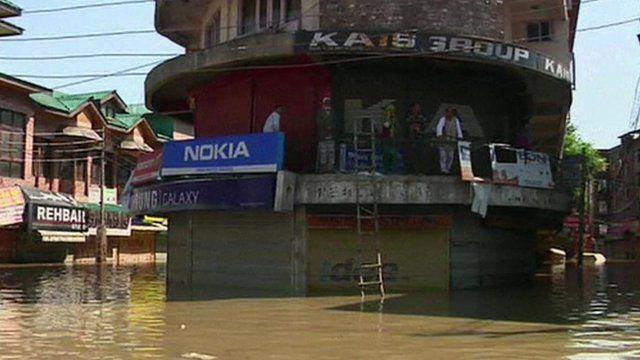 Shop in flooded street