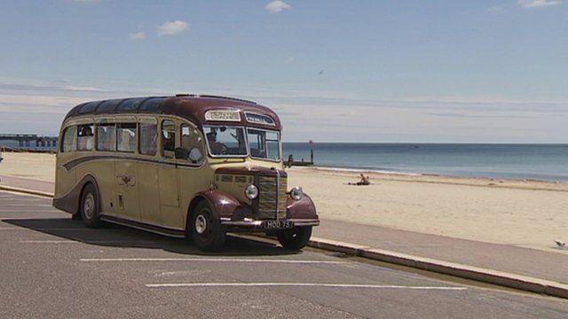 Bus by seaside