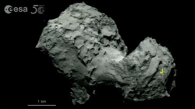 """""""J"""" marks primary landing site for the Rosetta mission"""