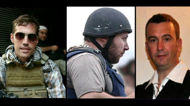 From left - James Foley, Steven Sotloff and David Haines