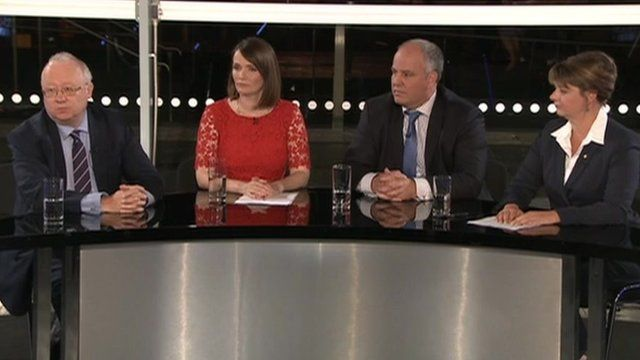 Leighton Andrews, Kirsty Williams, Andrew RT Davies and Leanne Wood took part in a Wales Report debate on Monday