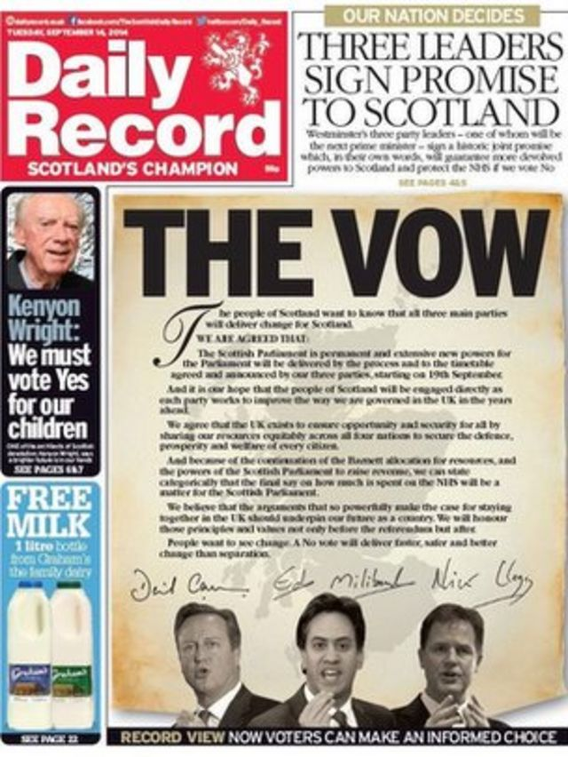 Scottish independence: Cameron, Miliband and Clegg sign 'No' vote pledge