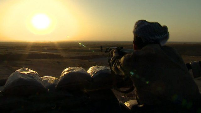 A Peshmerga fighter on the front line