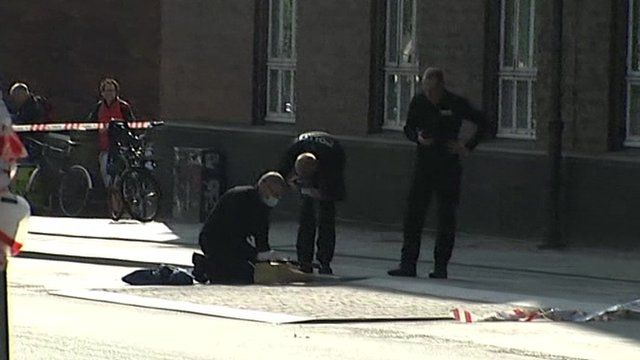 Police working at the scene