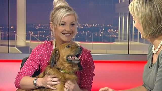 Helen Skelton with Barney on Midlands Today