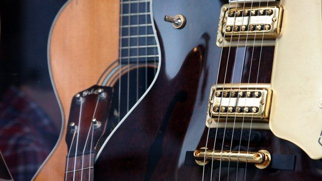 Electric and acoustic guitars