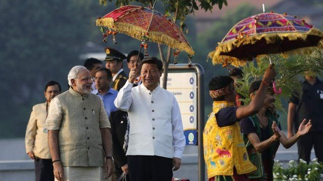 China's President Xi Jinping with Narendra Modi