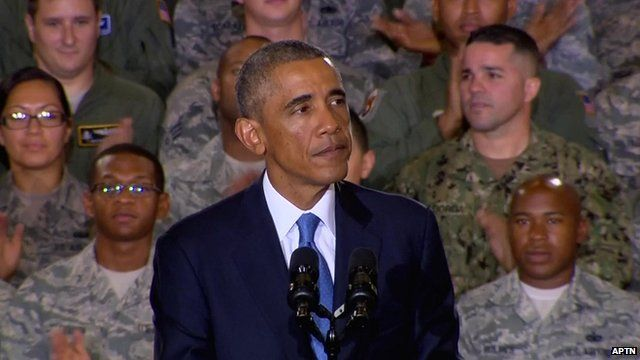 President Barack Obama addressing US troops at the Florida headquarters of Central Command
