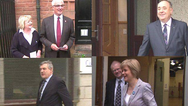 Clockwise from left: Alistair Darling, Alex Salmond, Nicola Sturgeon, Gordon Brown