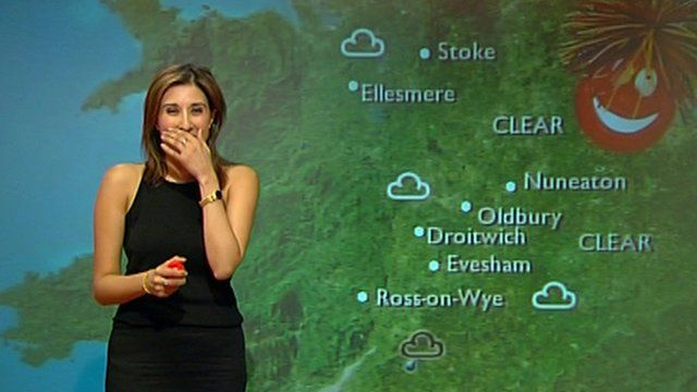 Weather presenter Shefali Oza reacts to a balloon popping in the studio