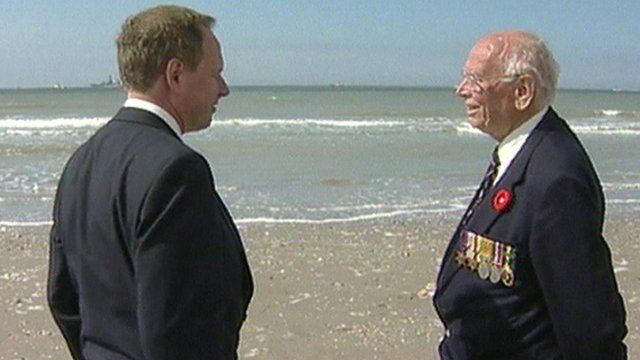 Nick Owen and his father, Bertie, on the beach at Dunkirk