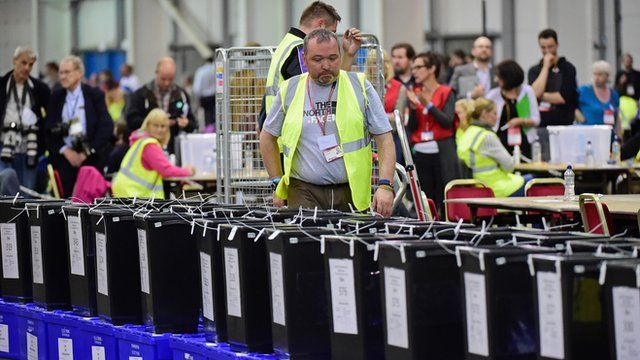 Ballot boxes arrive at Ingliston to be counted