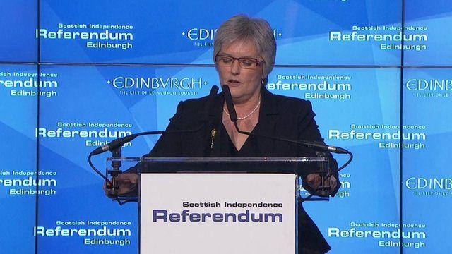 Edinburgh declaring in the Scottish referendum
