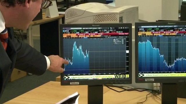 Simon Jack looks at screen showing pound value rising as referendum unfolded