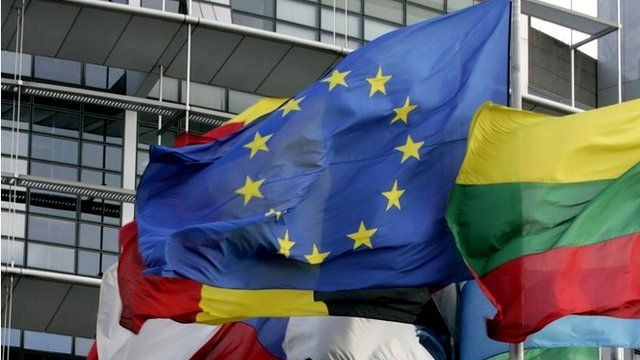 Flags outside the European Parliament building in Strasbourg