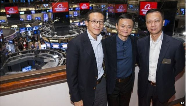Alibaba shares surge in their NY stock market debut