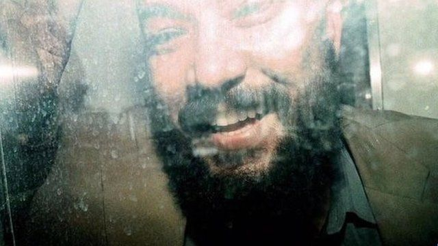 Adel Abdul Bary in a prison van after he appeared in Bow Street Magistrates court on 12 July 1999