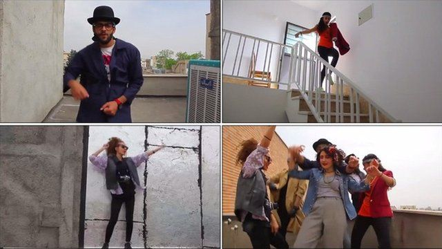 Images from the video of the young Iranians dancing to the song