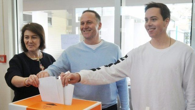 John Key and family members cast their ballots