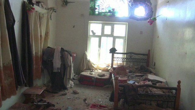 Bombed-out room in Yemen