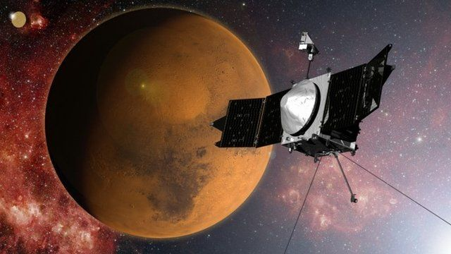 Artistic impression of Maven craft above Mars